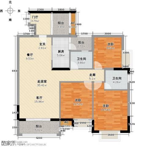 东兴边贸中心北仑华府3室0厅2卫1厨127.00㎡户型图