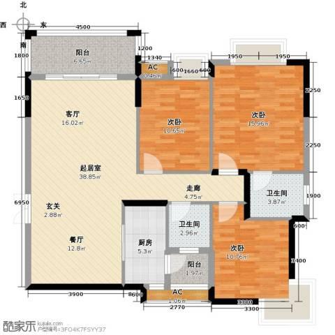 东兴边贸中心北仑华府3室0厅2卫1厨128.00㎡户型图