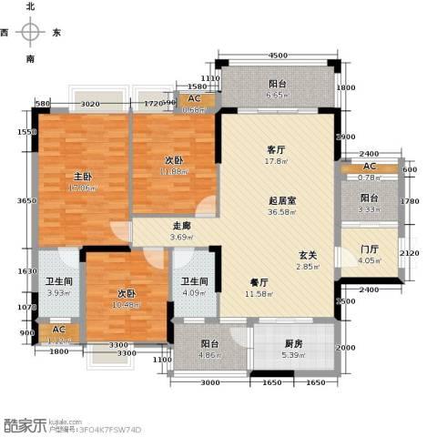 东兴边贸中心北仑华府3室0厅2卫1厨140.00㎡户型图