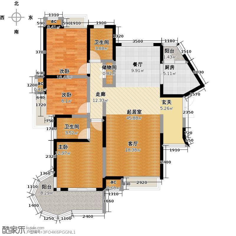 国润翠湖139.83㎡4号楼A户型3室2厅2卫