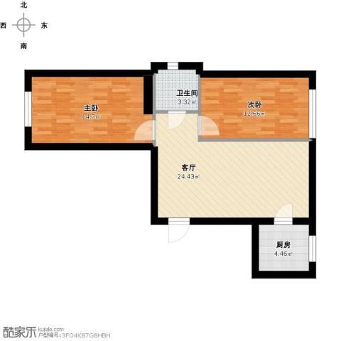 金湾山城2室1厅1卫1厨86.00㎡户型图