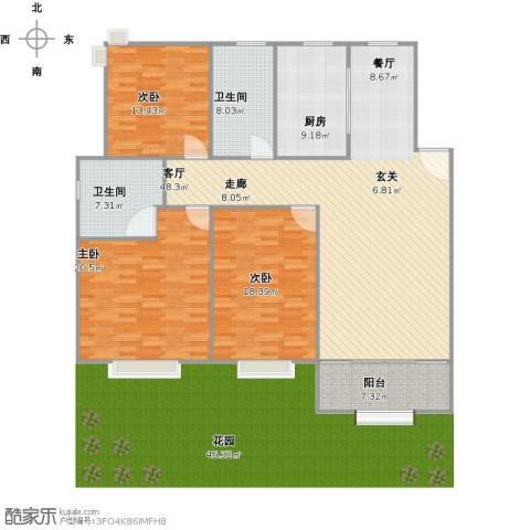 瓜渚风情3室1厅2卫1厨176.00㎡户型图