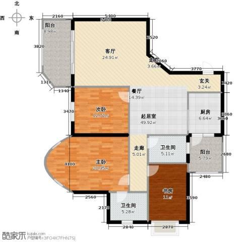 万代财富广场3室0厅2卫1厨140.00㎡户型图