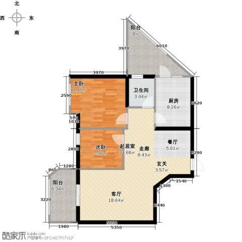 万代财富广场2室0厅1卫1厨90.00㎡户型图