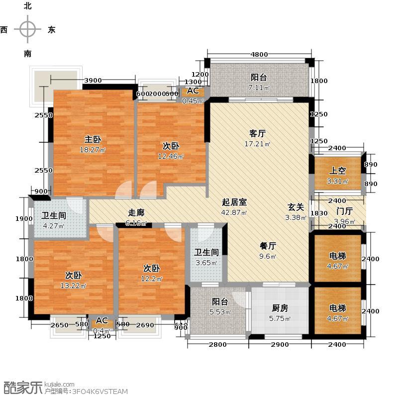 东兴边贸中心北仑华府户型4室2卫1厨