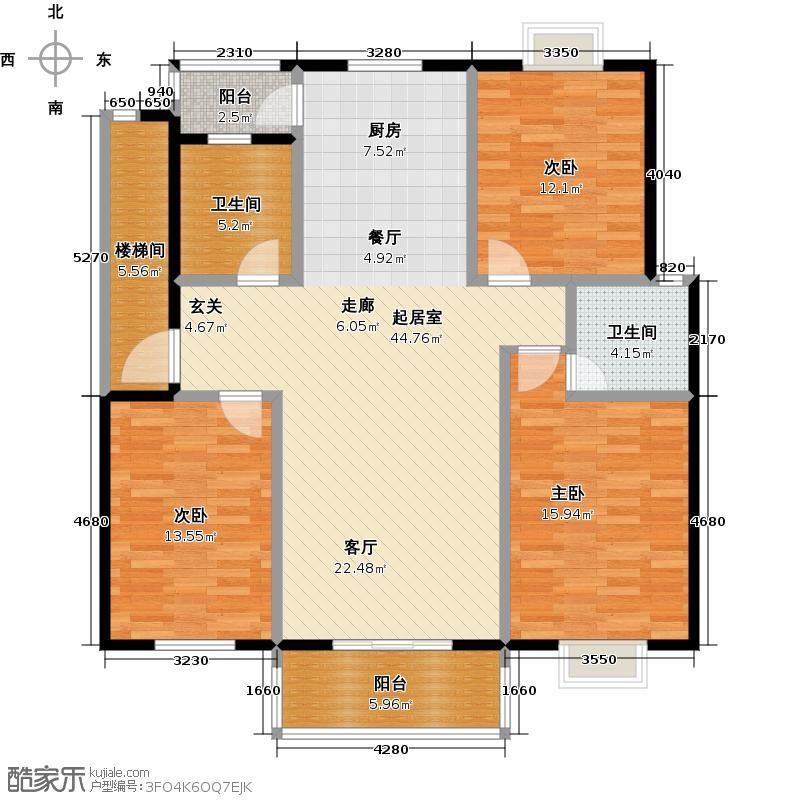 上河嘉园泰州上河嘉园D户型3室2厅2卫116.00㎡户型3室2厅2卫