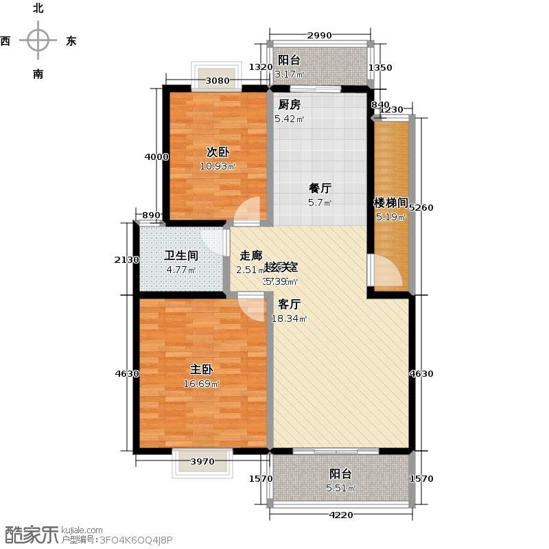 上河嘉园泰州上河嘉园A户型2室2厅1卫88.00㎡户型2室2厅1卫