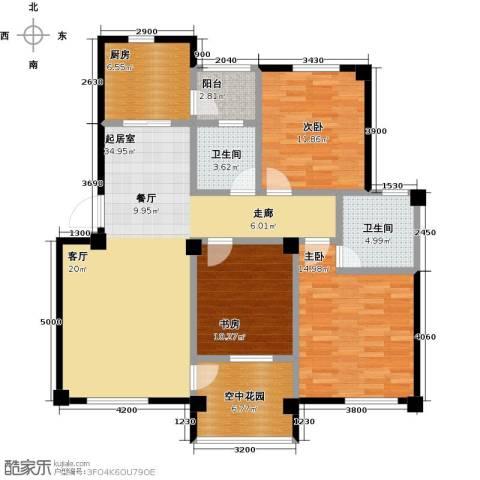 航天花园3室0厅2卫1厨109.00㎡户型图