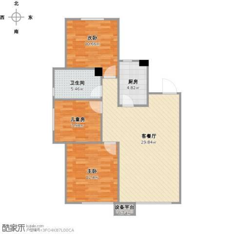 华润凯旋门3室1厅1卫1厨77.64㎡户型图
