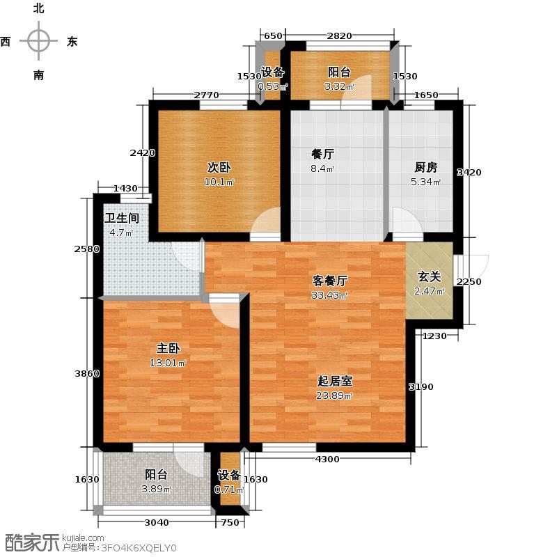 众美凤凰台意风106.41㎡33号楼A2户型二室二厅一卫户型2室2厅1卫