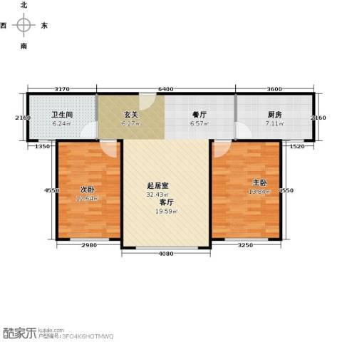 中科蓝湾国际2室0厅1卫1厨96.00㎡户型图
