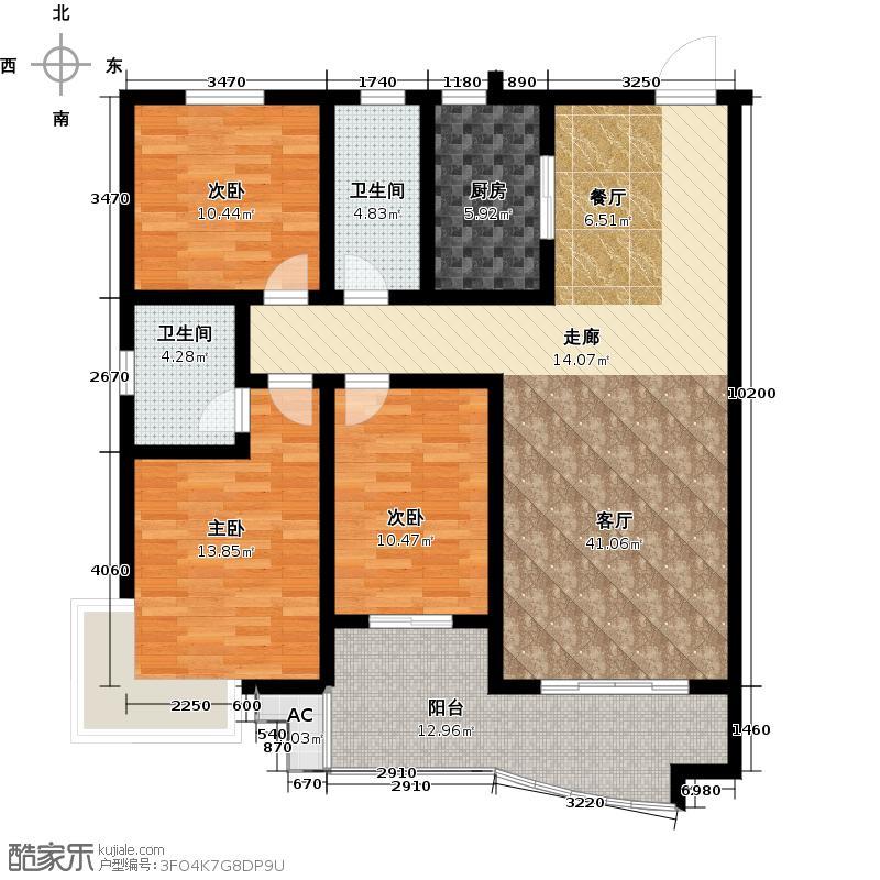 新葵花苑120.28㎡B户型3室2厅2卫