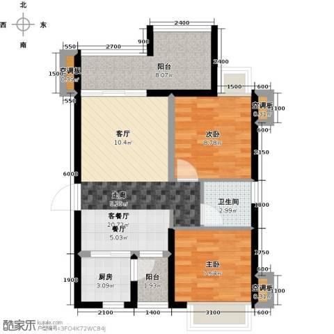 T PARK时尚公园2室1厅1卫1厨78.00㎡户型图