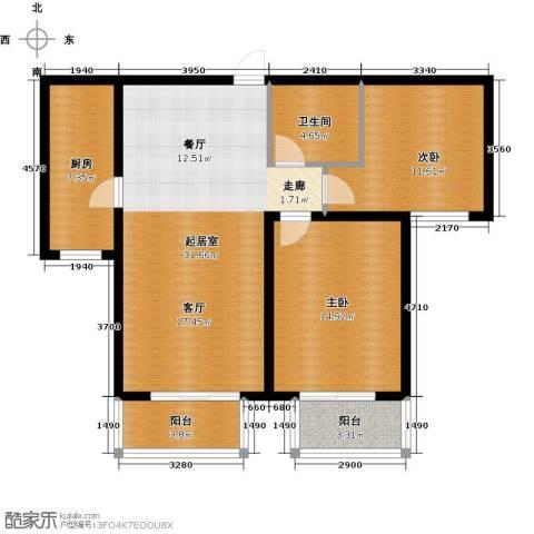 顺平水木清华2室0厅1卫1厨88.01㎡户型图