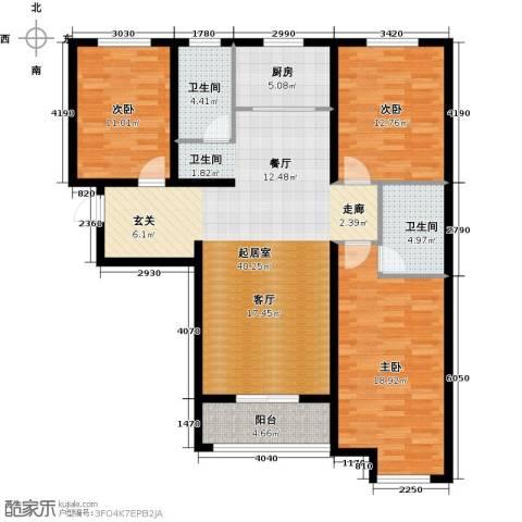 顺平水木清华3室0厅2卫1厨115.15㎡户型图