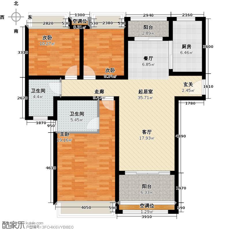 绿地21新城117.00㎡3室2厅2卫户型3室2厅2卫