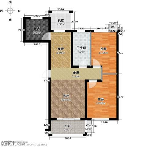 北国奥林匹克花园2室1厅1卫1厨96.90㎡户型图