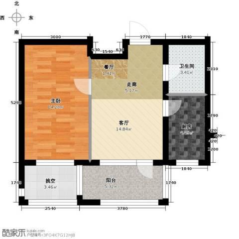 北国奥林匹克花园1室1厅1卫1厨53.25㎡户型图