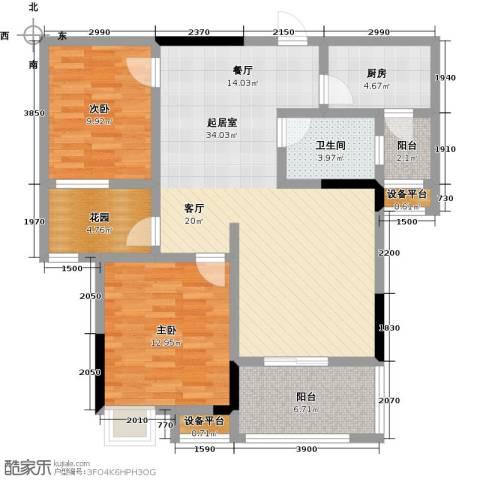 阳光新干线2室0厅1卫1厨90.00㎡户型图