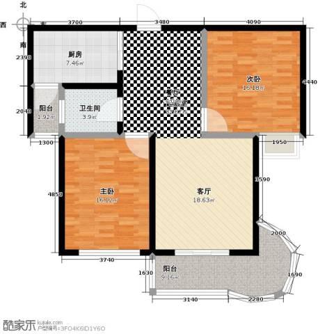 鲍德・现代逸城2室0厅1卫1厨125.00㎡户型图