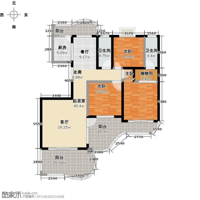鲍德・现代逸城162.49㎡B1三室两厅二卫户型3室2厅2卫