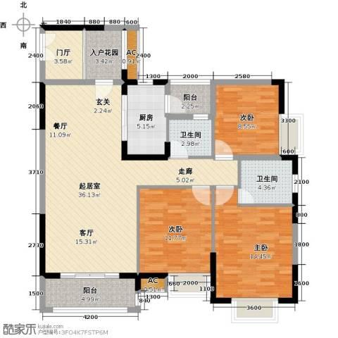 东兴边贸中心北仑华府3室0厅2卫1厨121.00㎡户型图