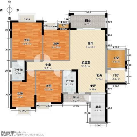东兴边贸中心北仑华府4室0厅2卫1厨140.00㎡户型图