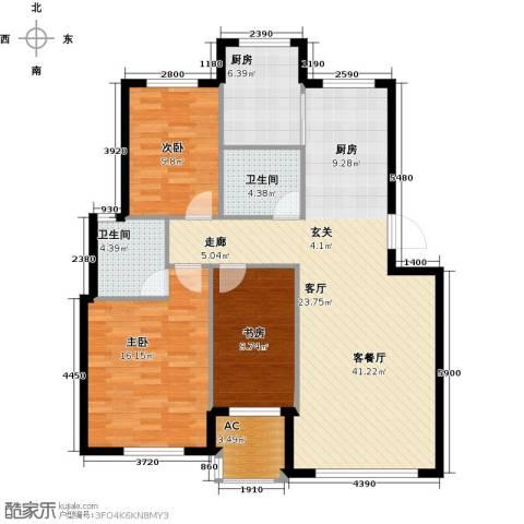 沈阳绿色家园3室1厅2卫1厨106.00㎡户型图
