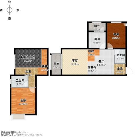 协信阿卡迪亚2室1厅2卫1厨125.00㎡户型图
