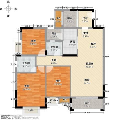 东兴边贸中心北仑华府3室0厅2卫1厨117.00㎡户型图