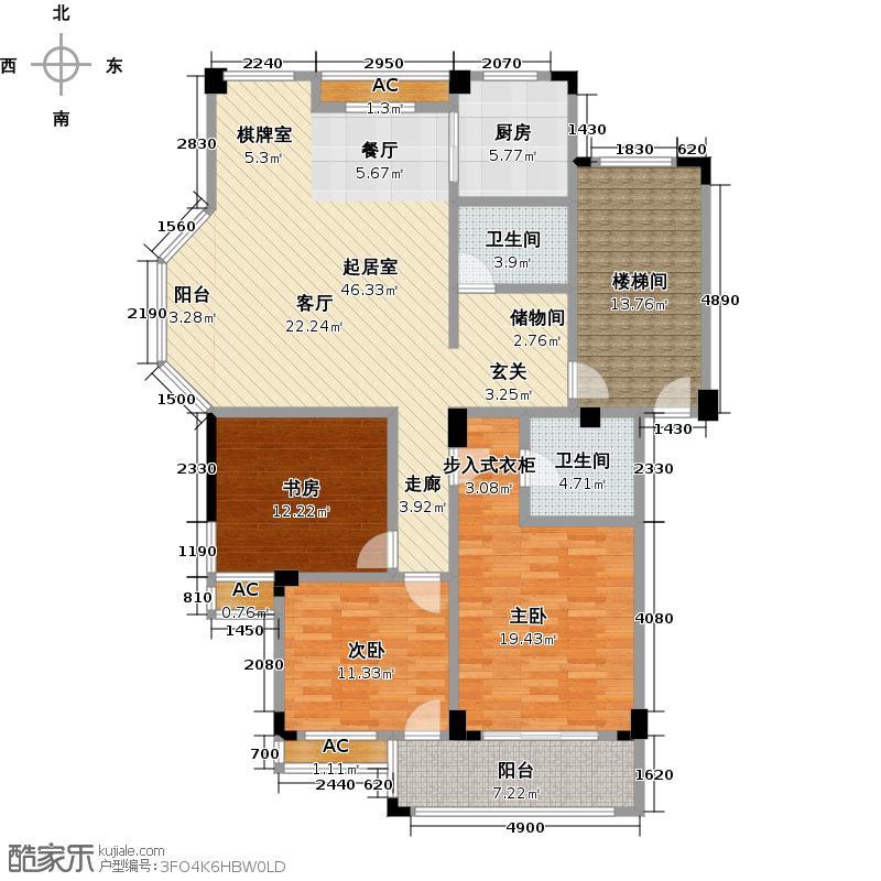 江景花苑LL户型3室2卫1厨