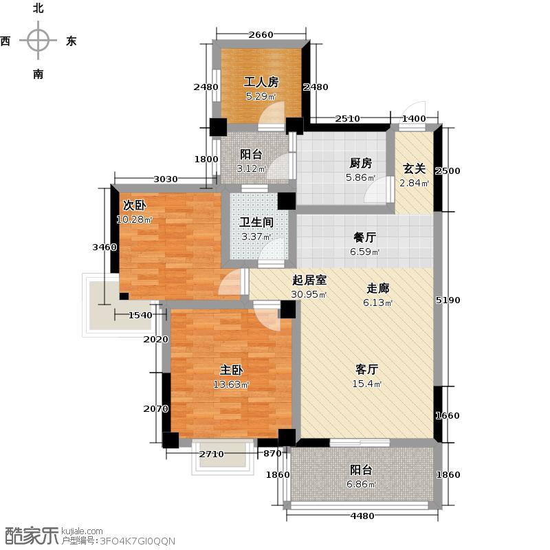 莱茵城98.00㎡N户型3室2厅2卫户型3室2厅2卫-T