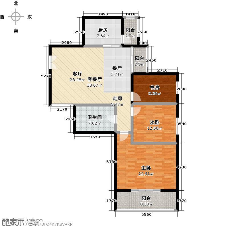 太原世纪家园135.00㎡E户型 三室两厅一卫 135平米户型3室2厅1卫