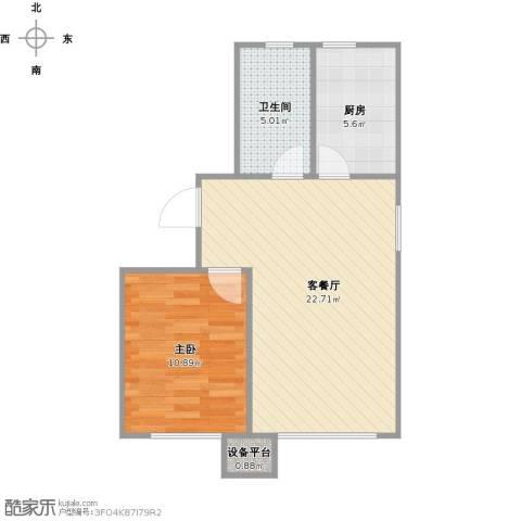 华润凯旋门1室1厅1卫1厨48.59㎡户型图