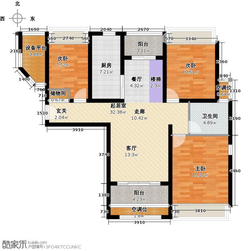 绿地21新城户型3室1卫1厨