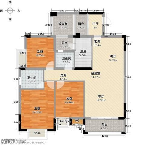 东兴边贸中心北仑华府3室0厅2卫1厨141.00㎡户型图