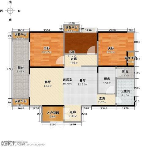 绵阳CBD万达广场3室0厅1卫1厨98.00㎡户型图