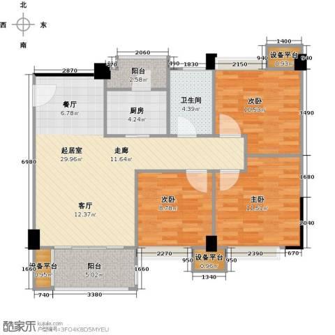 城南壹�3室0厅1卫1厨109.00㎡户型图