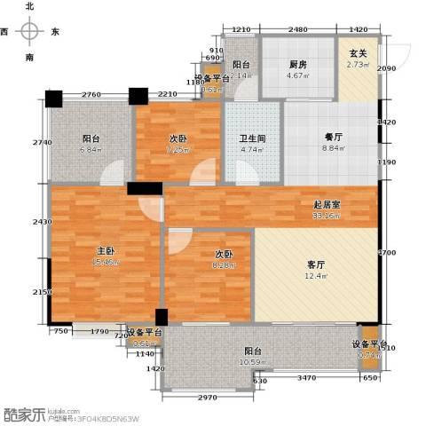 城南壹�3室0厅1卫1厨130.00㎡户型图