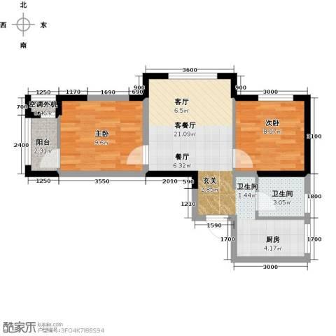 宜家观澜2室1厅1卫0厨68.00㎡户型图