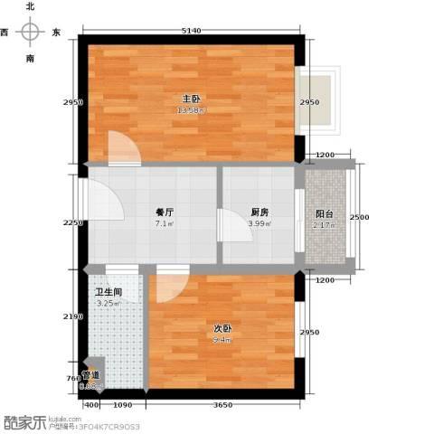 圣济经典・家园2室1厅1卫1厨58.00㎡户型图