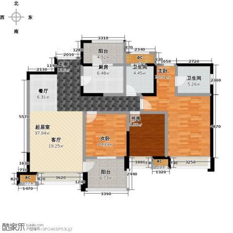 都城雅颂居3室0厅2卫1厨140.00㎡户型图