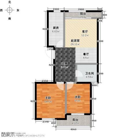 金桥澎湖山庄2室0厅1卫1厨92.00㎡户型图
