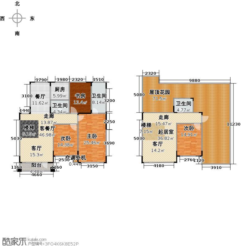 绿厦爵仕汇131.00㎡H1/H户型五层+地下室 3室2厅2卫户型