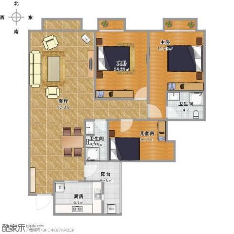 南延新苑3室1厅2卫1厨140.00㎡户型图