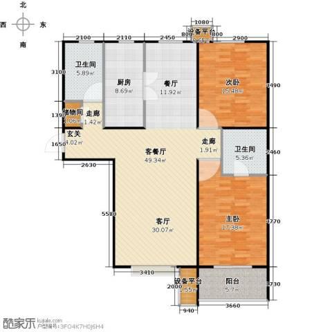 盛和嘉园2室1厅2卫1厨118.00㎡户型图