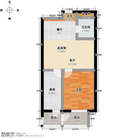水木康桥三期花语岸1室0厅1卫1厨62.00㎡户型图