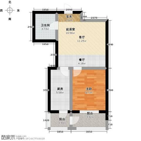 水木康桥三期花语岸1室0厅1卫1厨59.00㎡户型图