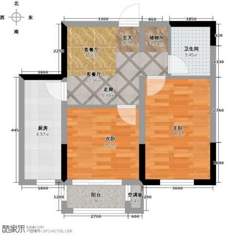 宜家观澜2室1厅1卫1厨71.00㎡户型图
