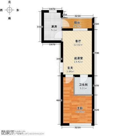公元天下1室0厅1卫1厨52.00㎡户型图